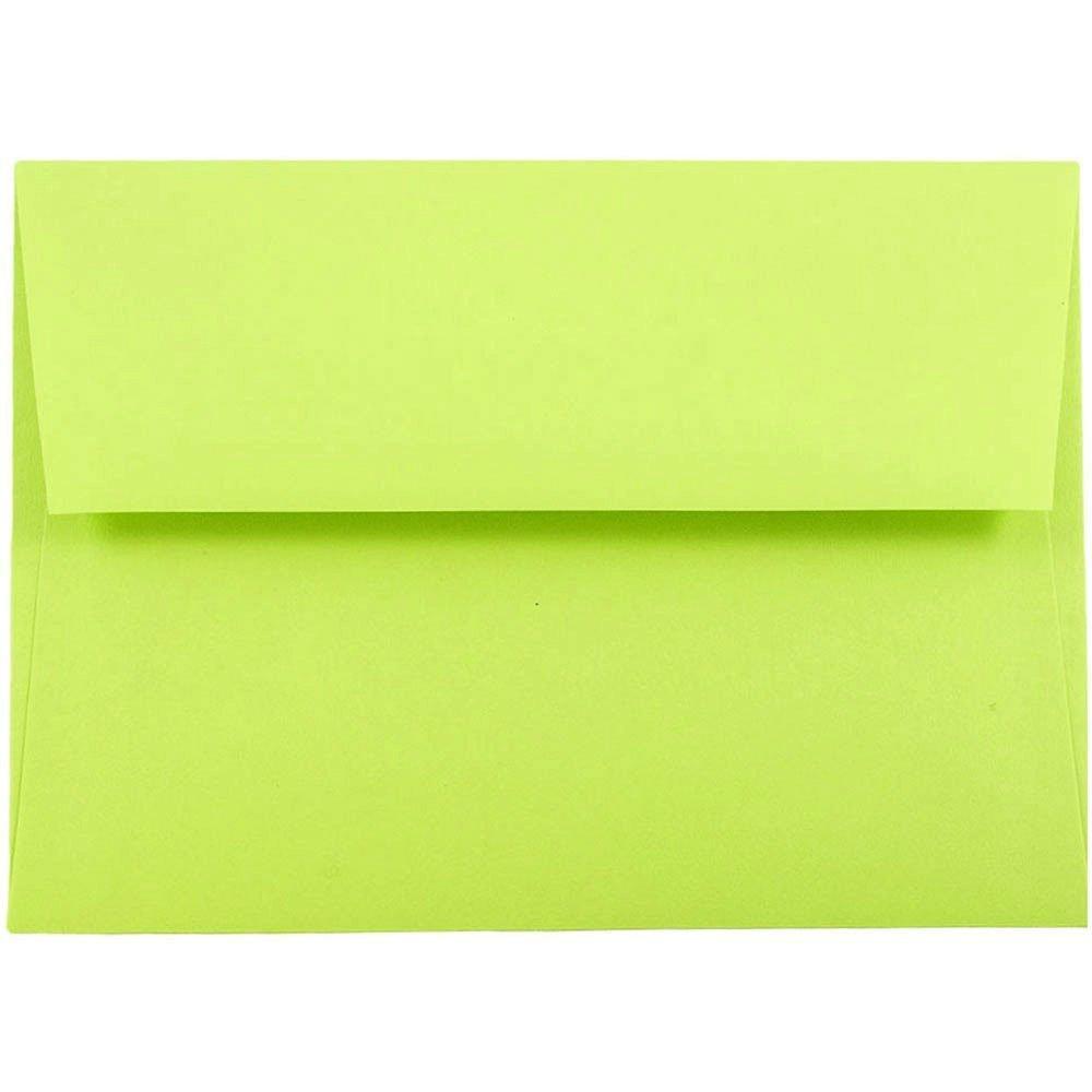 JAM Paper® A6 Invitation Envelopes - 121 mm x 165 mm (4 3/4 x 6 1/2) - Brite Hue Ultra Lime Green - 50 envelopes per pack