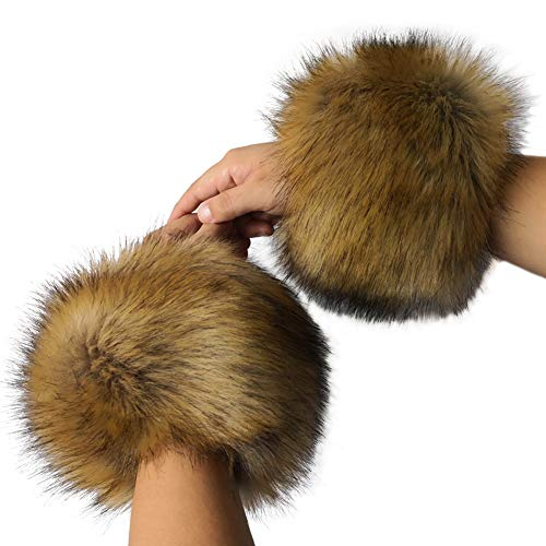 - Faux Fur Cuffs Arm Leg Warmers - HOMEYEAH Furry Wrist Cuff Warmer For Women Party Costumes Gifts