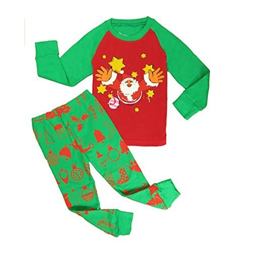 Sojamas Cotton Santa Claus Printed Little Toddler Boys Girls Christmas Pajamas Set