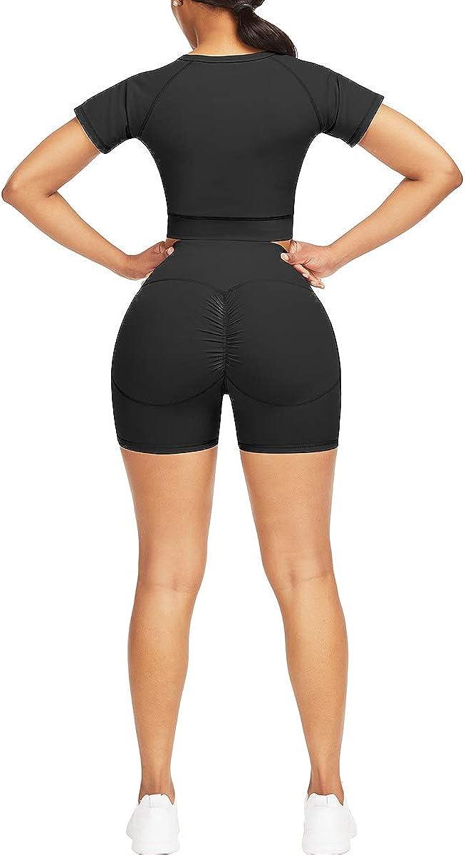 JOYMODE Womens Yoga Outfits 2 Piece Workout Set Short Sleeve Gym Top Yoga Shorts Set