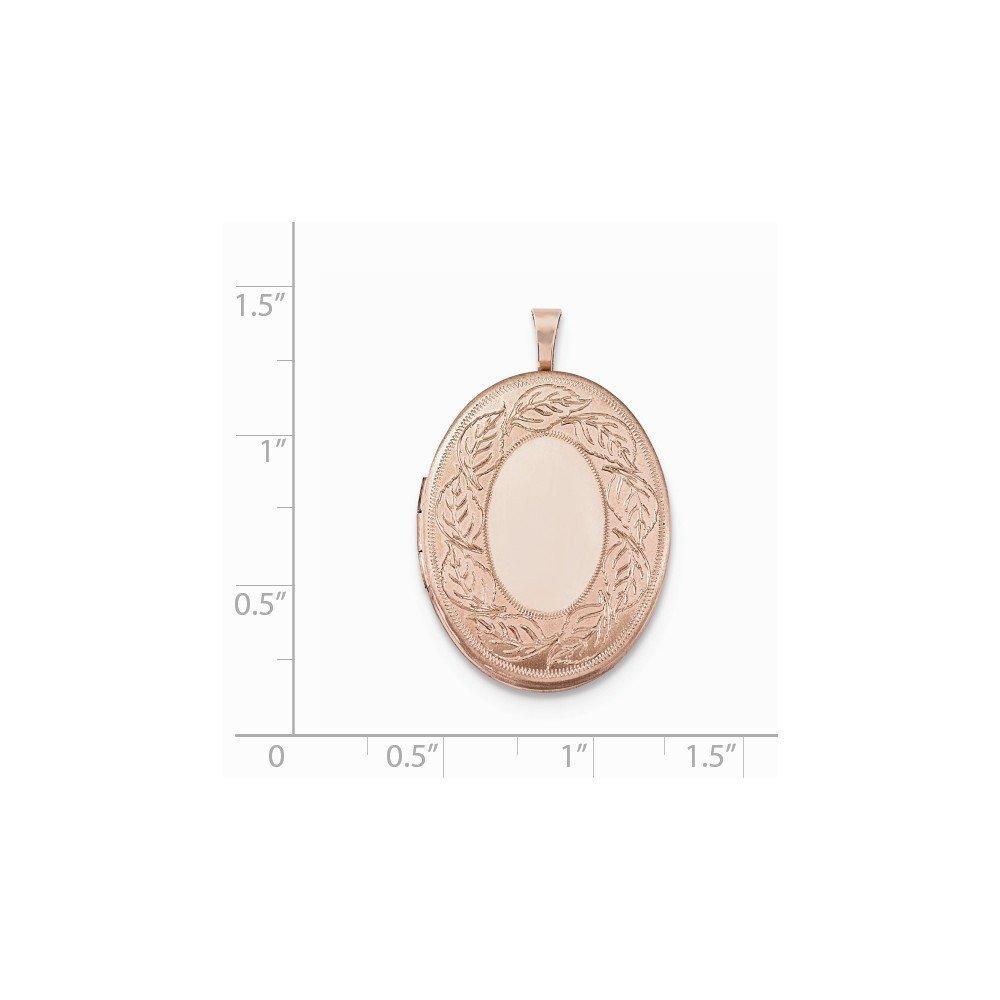 Sterling Silver Rose Gold-plated 26mm Leaf Border Oval Locket