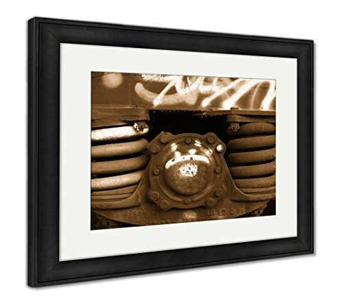 Ashley Framed Prints Closeup Of Rusted Springs On Freight Train Boxcar Sterling Colorado, Modern Room Accent Piece, Sepia, 34x40 (frame size), Black Frame, AG6367333 ()