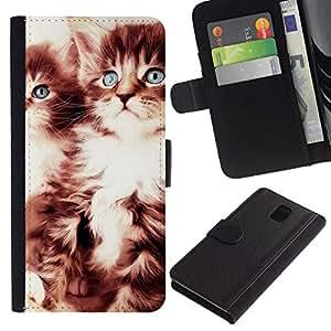All Phone Most Case / Oferta Especial Cáscara Funda de cuero Monedero Cubierta de proteccion Caso / Wallet Case for Samsung Galaxy Note 3 III // CUTE KITTENS