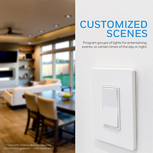 Honeywell Z-Wave Plus Smart Light Dimmer Switch, In-Wall Paddle, Interchangeable White & Almond |Built-In Repeater & Range Extender | ZWave Hub Required - SmartThings, Wink, Alexa Compatible, 39351 by Honeywell (Image #2)