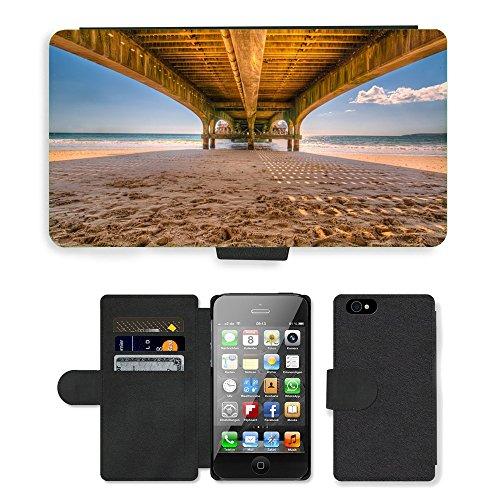 PU Leather Cover Custodia per // M00421729 Pier Jetty plage en bois Pont de sable // Apple iPhone 4 4S 4G