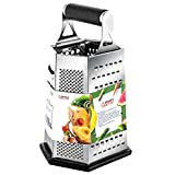Cheese Grater, Vegetable Box Graters for Kitchen, Stainless Steel - 6 Sides - 9 Inches with Rubber Handle, Non Slip Rubber Bottom by THETIS Homes