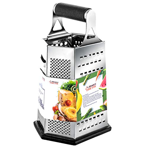 Cheese Grater, Vegetable Box Graters for Kitchen, Stainless Steel - 6 Sides - 9 Inches with Rubber Handle, Non Slip Rubber Bottom by THETIS ()