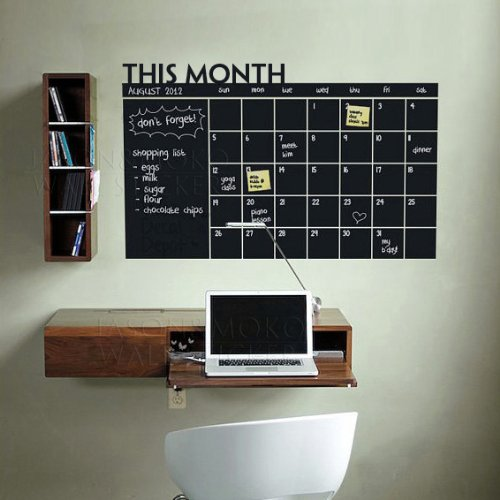 Diy Monthly Chalkboard Calendar Vinyl Wall Decal Removable Planner Mural Wallpaper Vinyl Wall Stickers 64*100cm