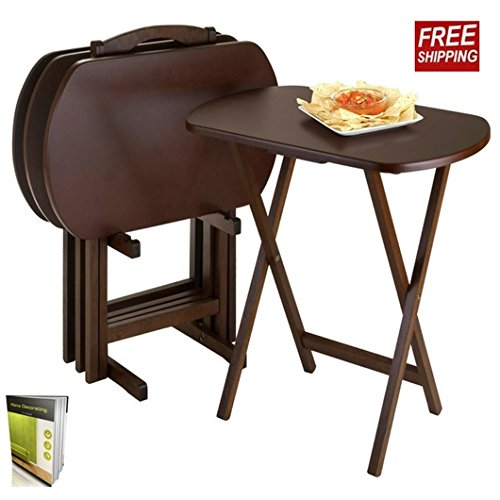 Folding Table Set For 4 And 1 Stand, Easy To Use And Store, Made Of Wood And Composite Wood Oval Shape, Finish Brown And E book By TSR (Oval Tv Tray)