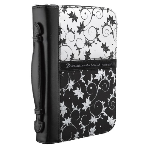 Micro-Fiber Black & White Print Bible / Book Cover - Psalm 46:10 (Medium) (Black And White Bible)