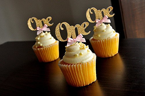 [Baby First Birthday Decoration One Cupcake Toppers Pink Bows & Gold Baby Show Cake Topper Decorations Supplies] (Alice In Wonderland Halloween Decorations)