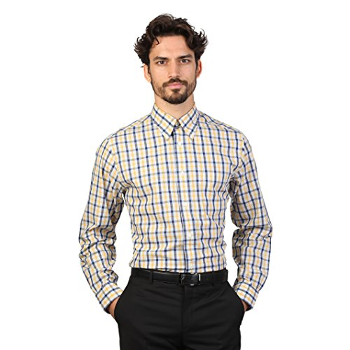 Brooks Brothers Mens Long Sleeve Checked Pattern Shirt (S) (Yellow/Navy)
