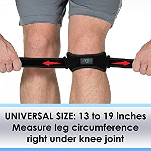 Patella Straps Knee Brace Support for Arthritis, ACL, Running, Basketball, Meniscus Tear, Sports, Athletic. Best Knee Brace for Hiking, Soccer, Volleyball & Squats (2-Pack)