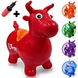 WALIKI Toys Bouncy Horse Hopper, Pump Included (Benny The Jumping Bull Inflatable Hopping Animal, Riding Horse for Kids, Hoppy Horse, Ride-on Hopper Horse, Red, for Toddlers)
