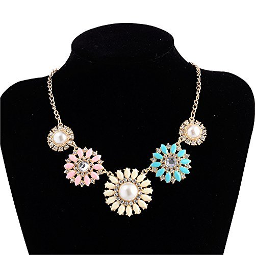 New Daisy Floral Flower Bib Statement Chain Necklace(Colorful Two)