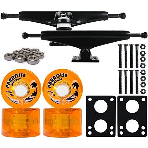 Longboard Skateboard Trucks Combo Set 65mm Bigfoot Islanders Wheels with Black Trucks, Bearings, and Hardware Package (65mm Orange Wheels, 7.0 (9.63
