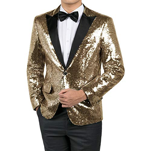 WEEN CHARM Men's Shiny Sequins Dress Suit Jacket Floral Party Dinner Jacket Wedding Blazer Prom Tuxedo Gold ()
