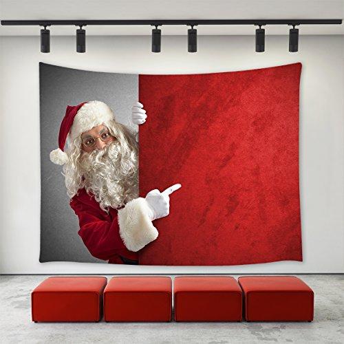 LBKT Christmas Day Tapestry Wall Hanging Custom Xmas White Beard Santa Claus Christmas Hat Pattern Tapestries Wall Decor Art Home Decoration Bedroom Living Room Dorm -