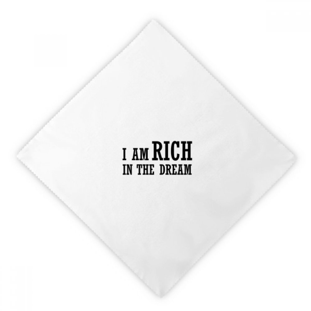 I Am Rich In The Dream Dinner Napkins Lunch White Reusable Cloth 2pcs