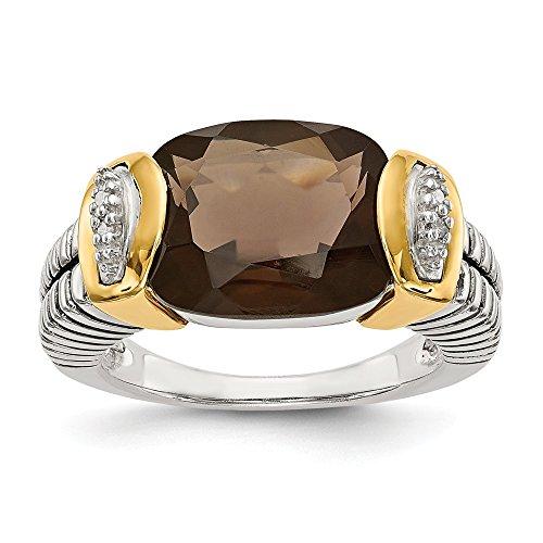 14K White Gold Gemstone Ring Solid Antiqued 14K Gold Yellow 2 mm Smoky Quartz Diamond