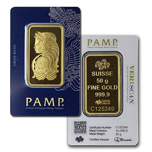 PAMP Suisse Fortuna 50 Gram Gold Bar w/Assay (Types Vary)