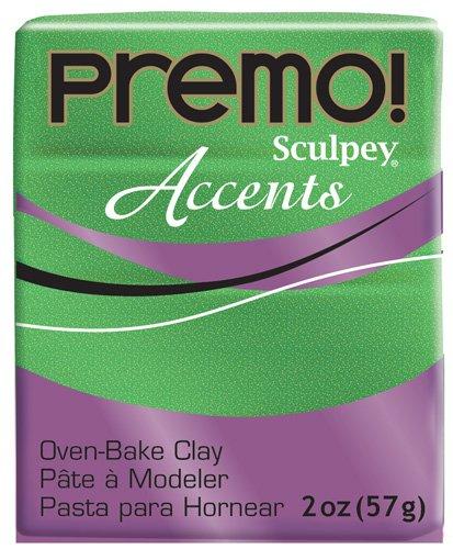 Sculpey Premo Polymer Art Clay Accents, Green Glitter