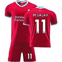 LCHENX -Barn Liverpool fotbollströja set Mohamed Salah # 11 fans andningsbar fotboll träning läger t-shirt set