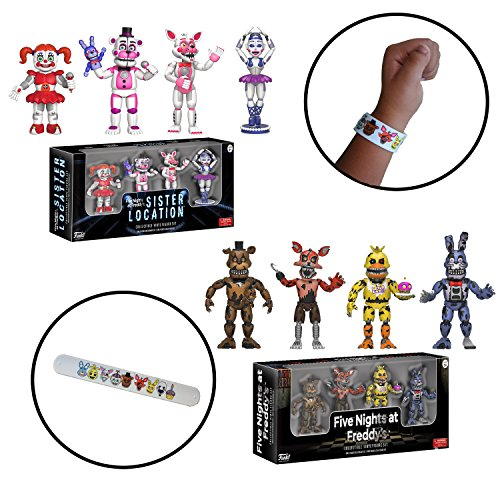 Five Nights at Freddy's FNAF Sister Location Mini Action Figure Toys 2-Pack Set with Bracelet