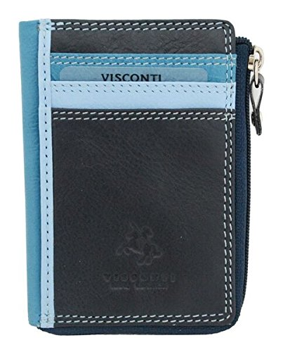 Purse Coin Phi (Visconti RB110 Phi Phi Womens Leather Slim ID Credit Card Holder Wallet / Purse (Blue Multi))