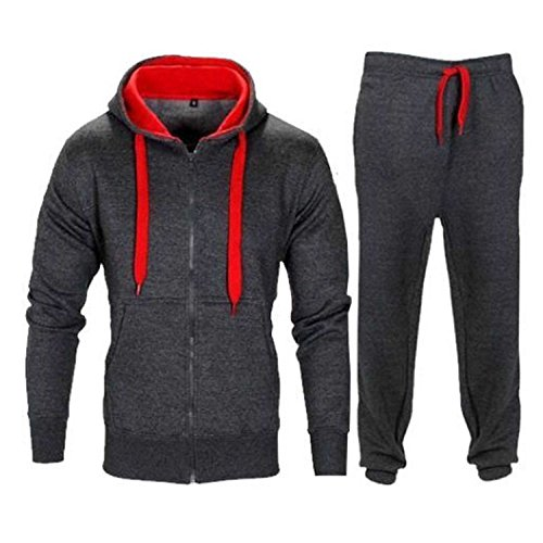 Full Fleece Cord Mens Gym Joggers Zip Up Charcol Jogging Contrast amp;red Hoodie Tracksuit Suit dXxXwB