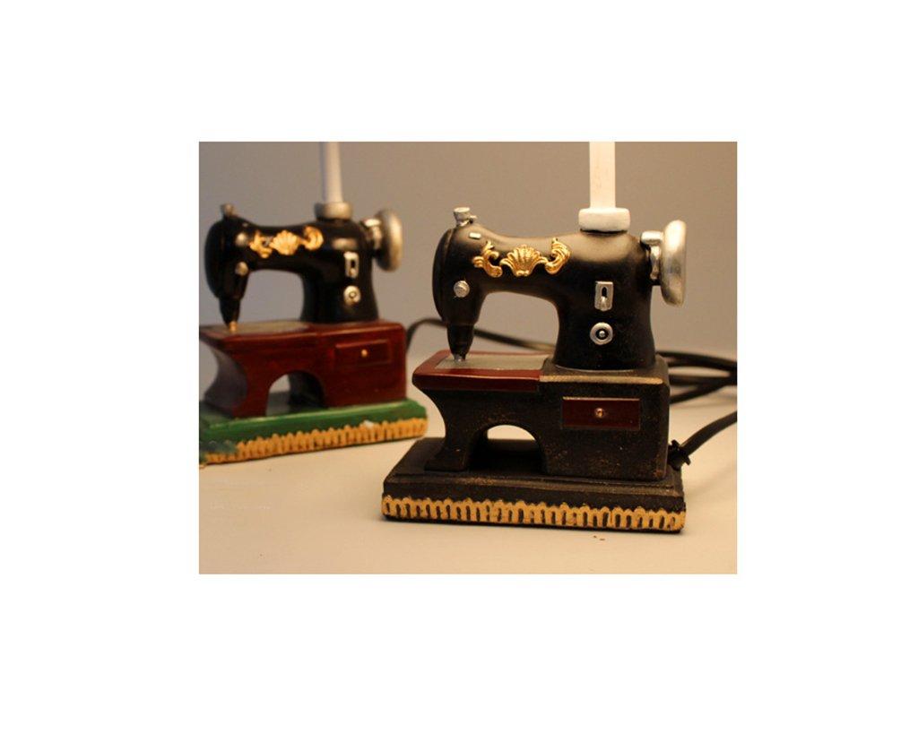 &La lámpara de mesa Retro Maquinas De Coser Lámpara De Mesa Lámpara De Cama Dormitorio Creativo Cafetería Luces Decorativas (Color : Negro) : Amazon.es: ...