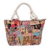 WongSinTong Women's Fashion Printed Canvas Large Capacity Handbag Shoulder Tote Bag (Girls)