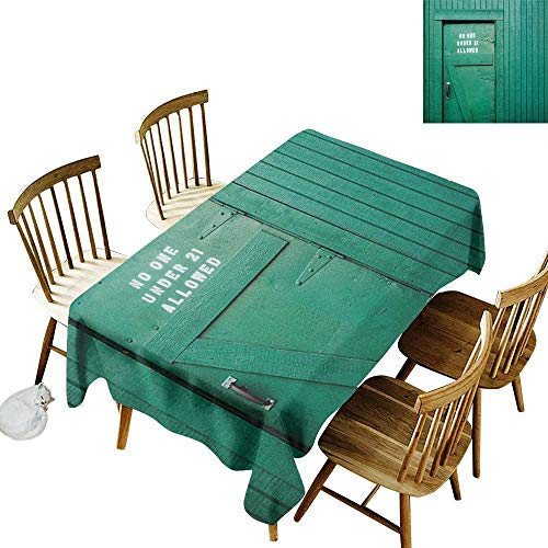 Cranekey Restaurant Rectangular Tablecloth W60 x L84 Teal Monochrome Vintage Wooden Local Irish Pub Rustic Door with Warning Phrase Culture Photo Teal Great for Family & More