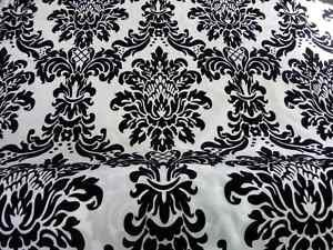 Fabrics Online Uk Black Amp White Damask Faux Silk Taffeta