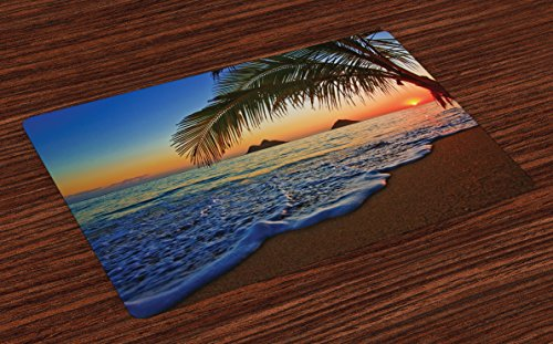 Ambesonne Hawaiian Place Mats Set of 4, Pacific Sunrise at Lanikai Beach Hawaii Colorful Sky Wavy Ocean Surface Scene, Washable Fabric Placemats for Dining Room Kitchen Table Decor, Blue Brown