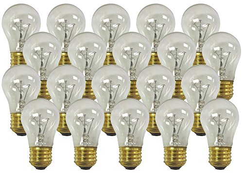 130v Bulb A15 Light (Royal Designs Long Life Appliance Fan Utility Light Bulb 40-Watt Clear A-15 130V (20-Pack) (LB-5002-20))
