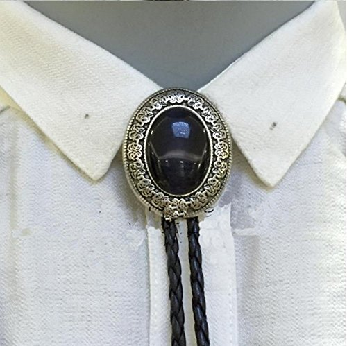 Vincent Vega Costume (Vintage Style Alloy Fashion Bolo Tie Bow Tie for Mens (Black Onyx))