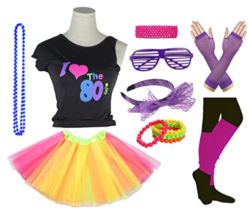 Girls I Love The 80's Disco T-Shirt for 1980s Theme Party Outfit (Yellow&Hot Pink, 14-16 -