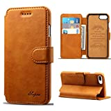 iPhone 8 Plus / iPhone 7 Plus Leather Wallet Case Slim Fit Vintage Flip Case Cover with Stand Function for iPhone 8 Plus & 7 Plus (Light Brown)