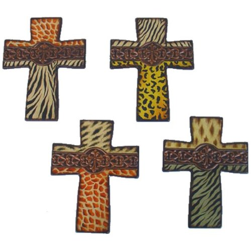 WILD ANIMAL PRINT CERAMIC CROSS IN SET OF 4