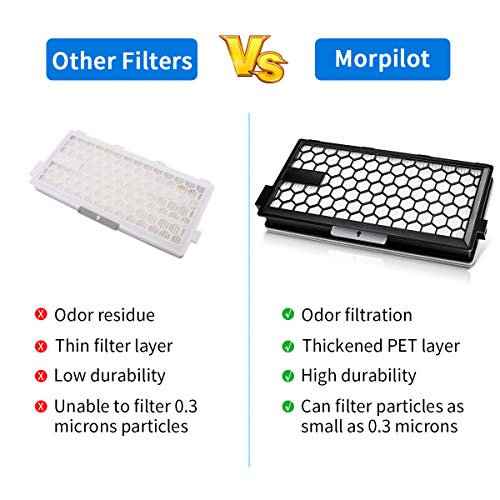 morpilot Active AirClean 50 Filter for Miele, Replacement HEPA and Activated Carbon Filters for Miele SF AA50 HEPA Filter S4000 S5000 S6000 S8000 Series Vacuum Cleaner - 2 Pack