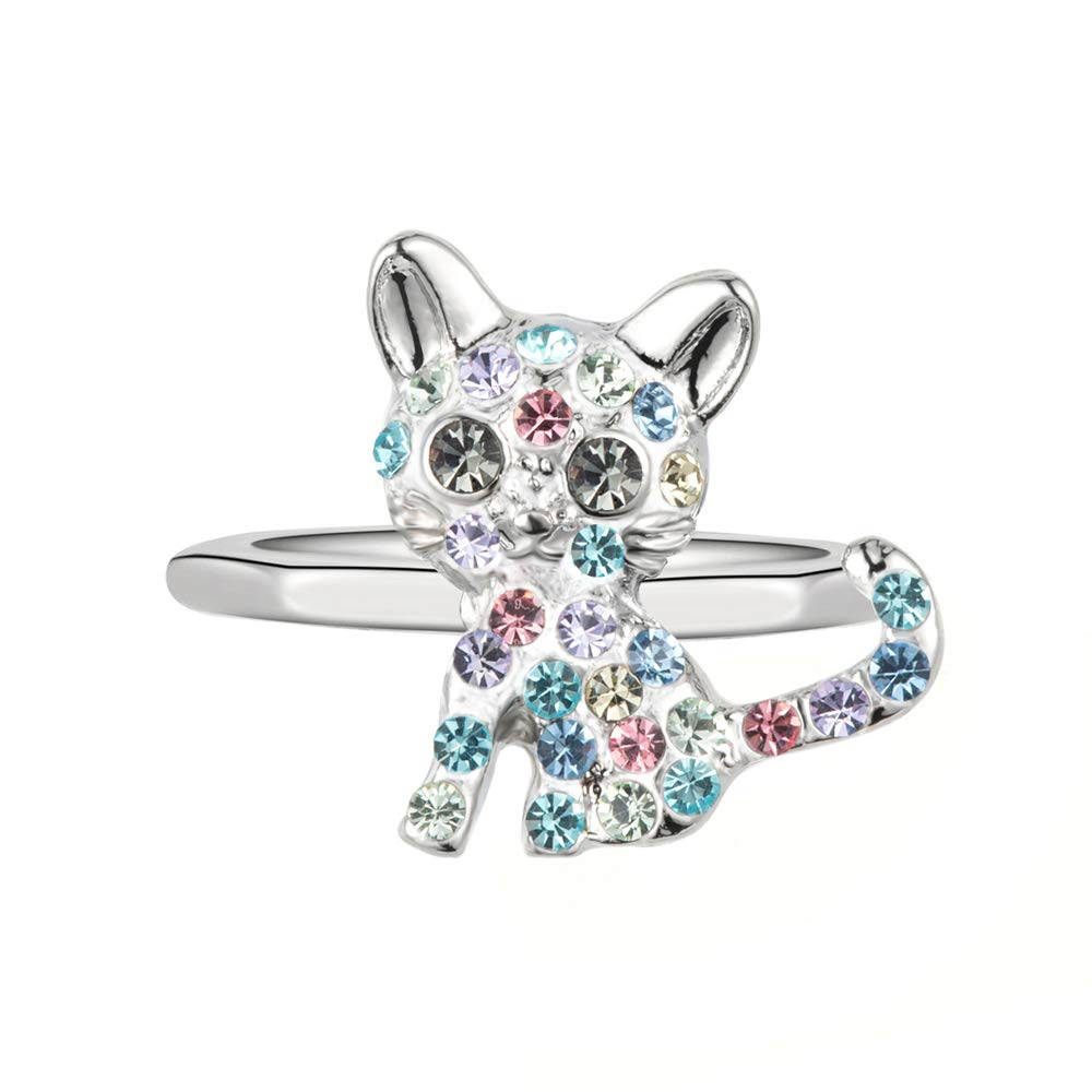 luomart Cat Ring for Girls Kids Women Kitty Rings Jewelry Gift Crystal Birthstone for Teens Children