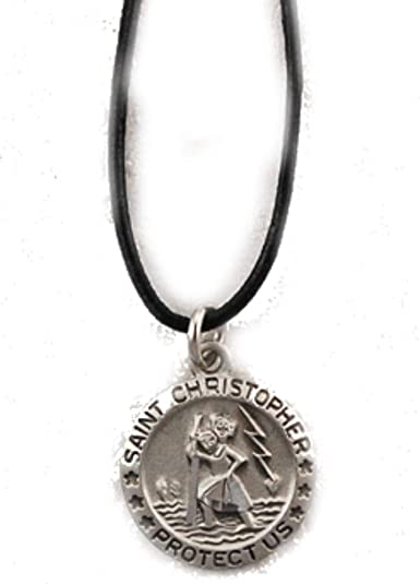 9aa1e0c2e99 Amazon.com: Saint Christopher Pewter Medal on 18 Inch Black Cord ...
