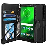 Moto G6 Plus Case, TAURI [Stand Feature] PU Leather Wallet Case Protective Flip Cover For Motorola Moto G6 Plus - Black