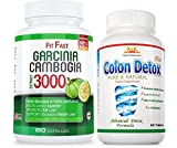 95% HCA 180 Caps Garcinia Cambogia FITFAST 1 Free Colon Detox 40% Off 3 Months Uninterrupted Supply in SINGLE BOTTLE, Fat burner, Maximum Strength Weight Loss, Natural Diet Pills, Same Day Shipping For Sale