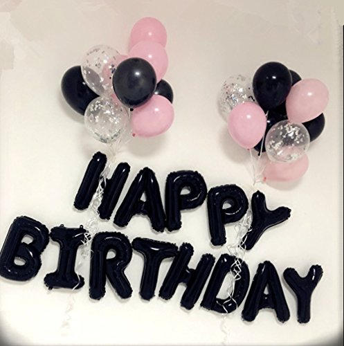 Black Happy Birthday Balloons Banner, Birthday Party Decorations - 21st - 30th - 40th - 50th - Funny Birthday Party Supplies, s With Curling Ribbon - Weight 21st Balloon
