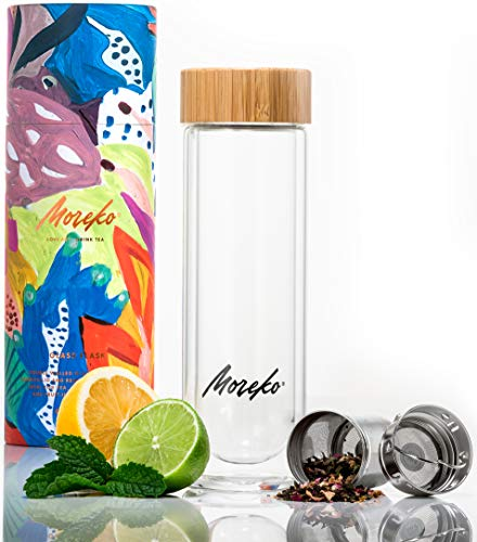 Travel Tumbler Ounce 15 - Glass Travel Tumbler with Bamboo Lid, 15 oz - Double-Wall, Insulated Water Bottle with Stainless Steel Tea Infuser - BPA-Free Thermos Mug - Traveling, Outdoor, Yoga Drink Accessories and Gifts