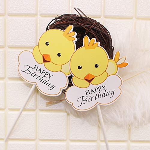 - Cartoon Chick Baking Decorative Plug Yellow Chicken Baby Zodiac Chicken Children Birthday Cake Insert Flag 2 Haapybirthday