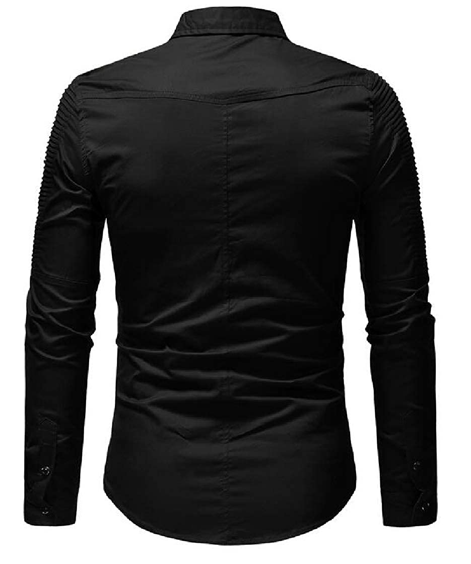 Gnao Men Casual Flap Pockets Buttons Slim Fit Pleated Solid Formal Lapel Shirt