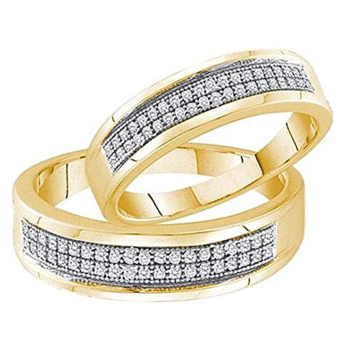 (0.25 Carat (ctw) 10K Yellow Gold Round Diamond Ladies Bridal Anniversary Wedding Band Duo Set 1/4 CT )